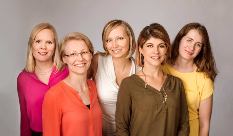 Askel Healthcare team, from left to right: Dr. Virpi Muhonen (CEO), Kaisa Laine (Quality manager), Dr. Anne-Marie Haaparanta (CTO), Constance Trouvé (Sales and marketing manager), and Laura Johansson (Production manager).